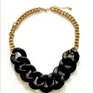 Black gold link necklace